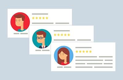 Es zeigt drei 5-Sterne Bewertungen von drei unterschiedlichen User.